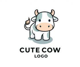 Cute cow logo vector