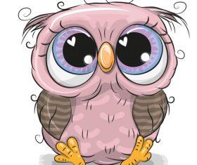 Cute owl baby cartoon vector