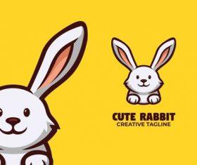 Cute rabbit logo vector