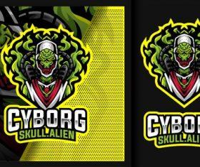 Cyborg skull alien gaming mascot logo vector