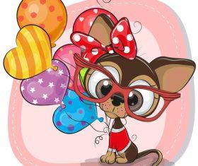 Dachshund and balloon cartoon vector