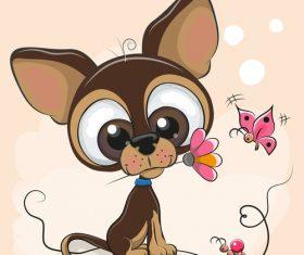 Dachshund with flowers cartoon illustration vector