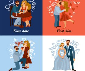 Developing love relations concept vector