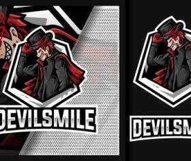Devil smile tuxedo thief mascot logo vector