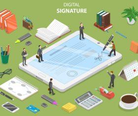 Digital signature cartoon illustration vector