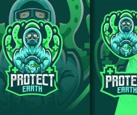 Doctor protect earth from corona mascot logo vector
