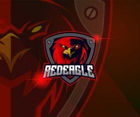 Eagle red esport logo template vector