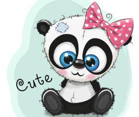Female cute red panda cartoon card vector