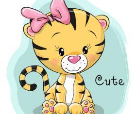 Female little lion cartoon illustration vector