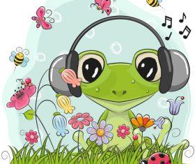 Frog wearing headphones in the wilderness vector