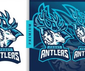 Frost antlers american football gaming mascot logo vector