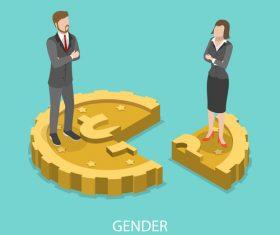 Gender gap cartoon illustration vector