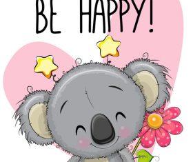 Happy sloth cartoon illustration vector