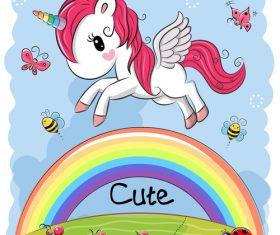 Happy unicorn cartoon vector
