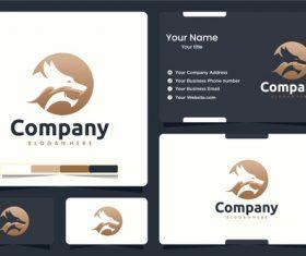 Head dragon logo business card design vector