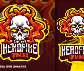 Head fire skull gaming esport logo vector