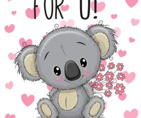 Heart shaped background sloth cartoon illustration vector