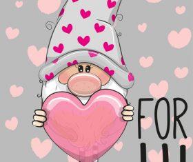 Holding a heart shaped dwarf cartoon vector