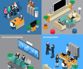 Human resource management isometric people vector
