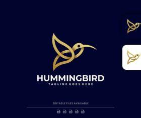 Hummingbird line art logo vector