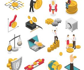 Ico blockchain mining bitcoin cryptocurrency finance vector
