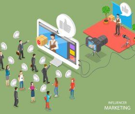 Influencer marketing cartoon illustration vector