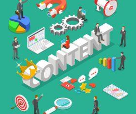 Isometric business cartoon illustration vector