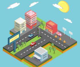 Isometric city concept design vector