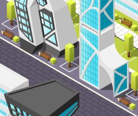 Isometric futuristic architecture background vector