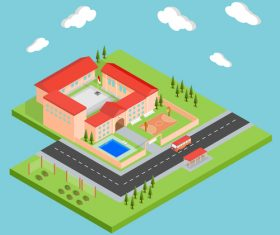 Isometric school concept design vector