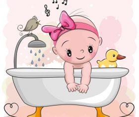 Kid cartoon vector in bathtub