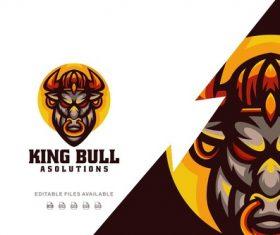 King bull color mascot logo vector