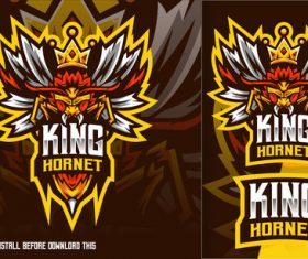 King hornet bee esport logo vector