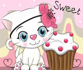 Kitten and dessert cartoon vector