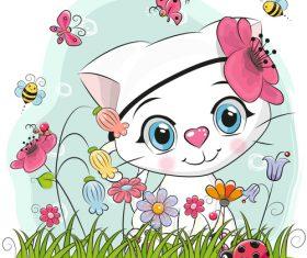 Kitten on the grass cartoon vector
