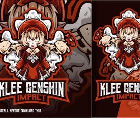 Klee cute girl genshin impact esport logo vector