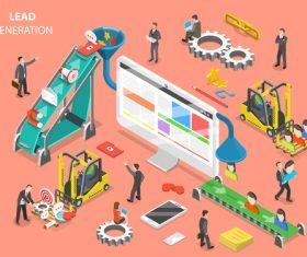 Lead generation cartoon illustration vector