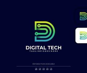 Leader digital tech gradient logo vector