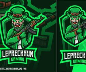 Leprechaun gaming green esport logo vector