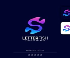 Letter with fish gradient logo vector