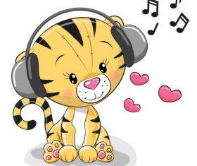 Listening to music little lion cartoon illustration vector