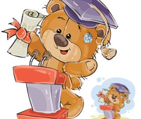 Little bear graduation cartoon illustration vector