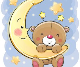 Little bear hanging on the moon vector