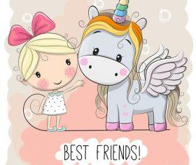 Little girl and unicorn cartoon vector