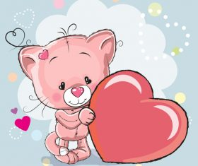 Little lion and heart vector