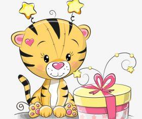 Little lion birthday cartoon illustration vector