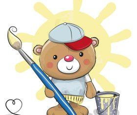 Little painter cartoon illustration vector