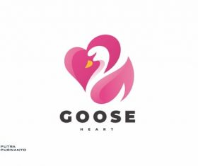 Love heart and swan logo design vector