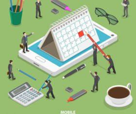 Mobile calendar cartoon illustration vector