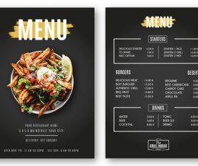 Modern menu restaurant grill vector